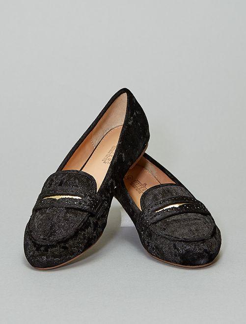 Mocassins en velours                             noir