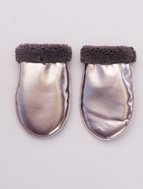 Moufles fourrées métallisées                                         gris