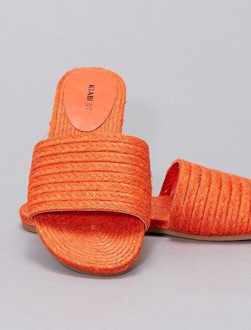 Mules en paille                                                     orange