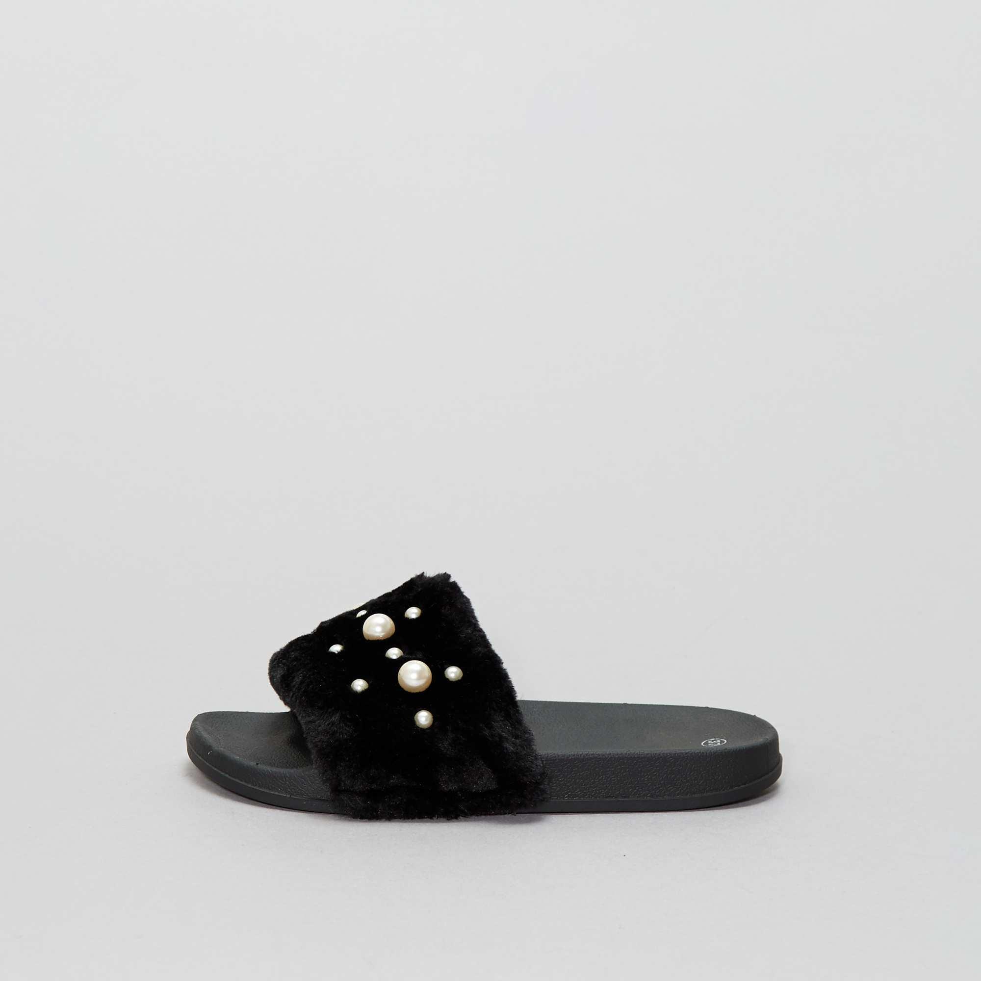 Couleur : noir, , ,, - Taille : 36, 39, 38,40,41Un esprit cocooning avec ces mules à fourrure ! - Chaussures mules imitation fourrure