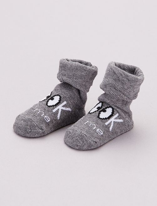 Paire de chaussettes fantaisie                                                     gris