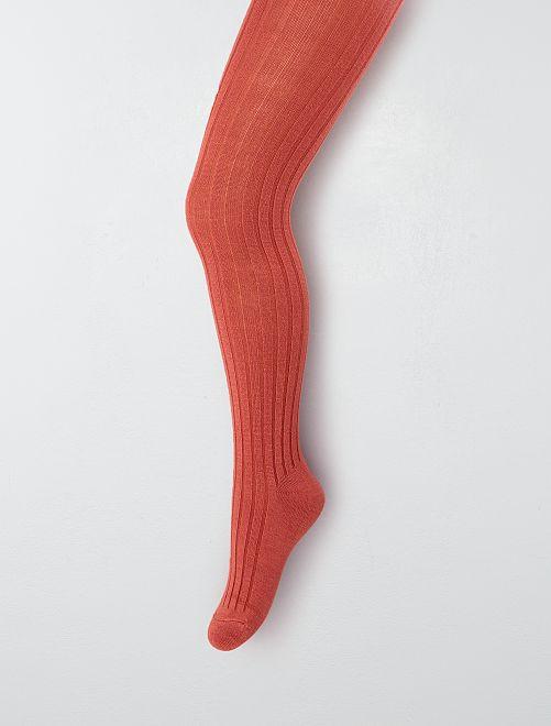Paire de collants côtelés                                                     rouge brique