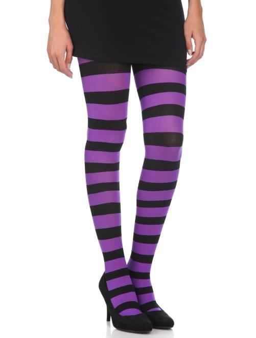 Paire de collants opaques rayés                                         noir/violet