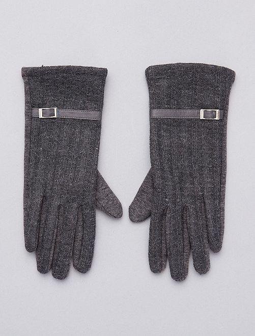 Paire de gants bi-matières doublés polaire                             anthracite