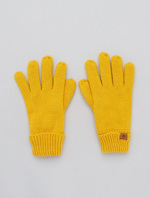Paire de gants en maille                             jaune