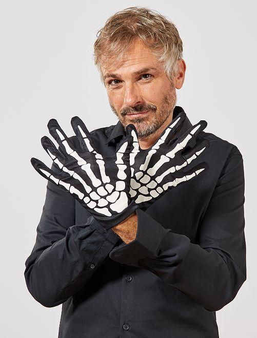 Paire de gants squelette                             noir/blanc