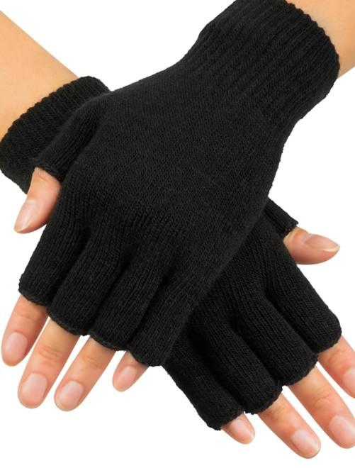 Paire de mitaines en tricot                             noir