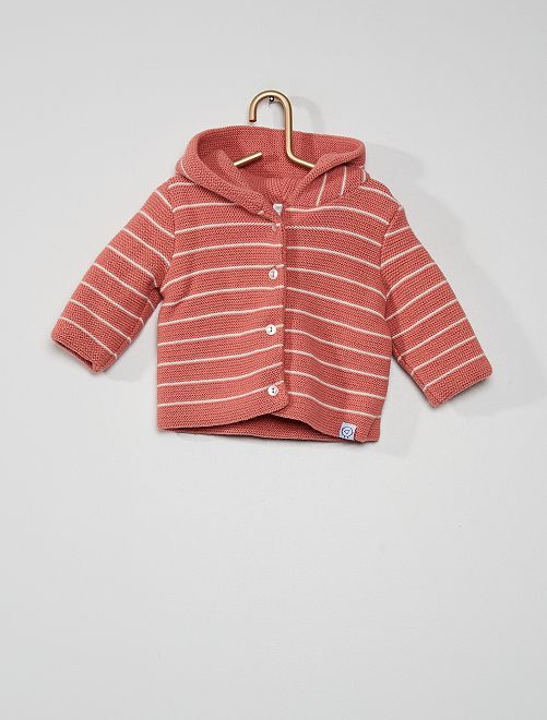 Paletot en tricot 'La Manufacture de Layette'                                         rayé rose