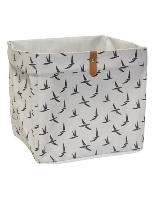 Panier de rangement cubique                                             beige/oiseaux