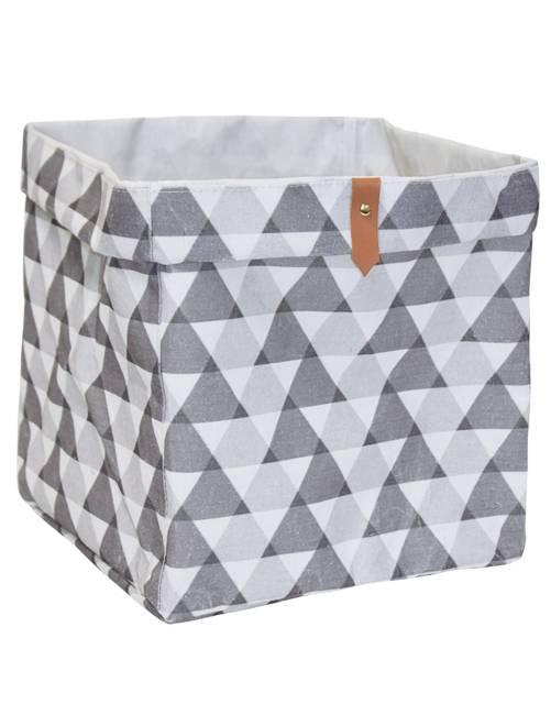 Panier de rangement cubique                                                                             blanc/gris Linge de lit