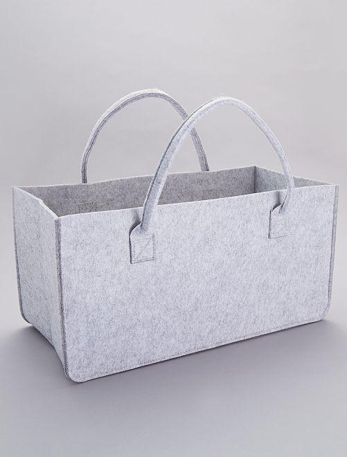 Panier de rangement en feutre                                         gris clair