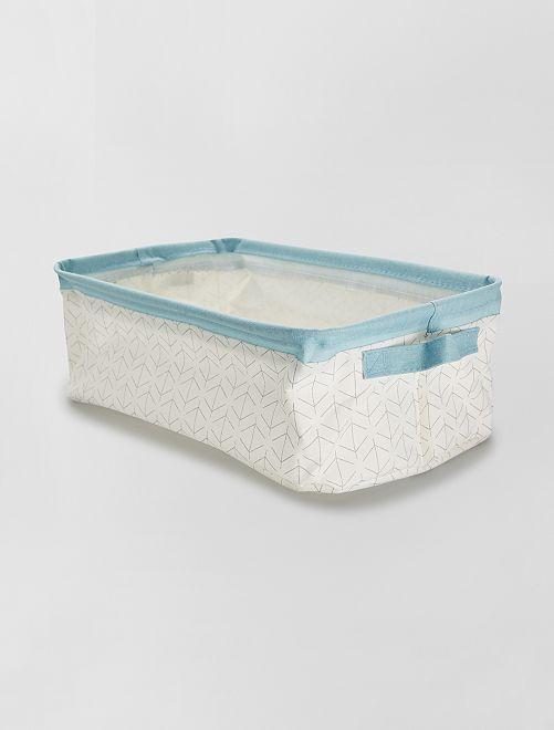 Panier de rangement rectangulaire                             blanc/bleu