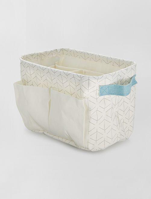 Panier rectangulaire multi compartiments                             blanc/bleu