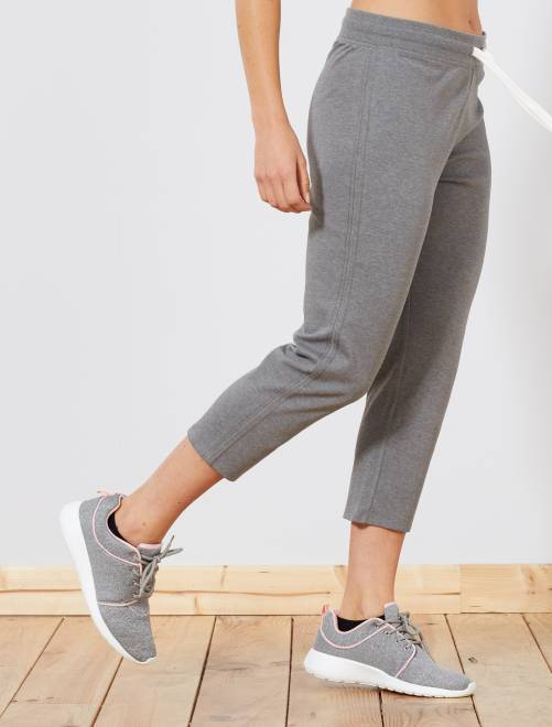 Pantacourt de sport stretch                                                     gris Femme