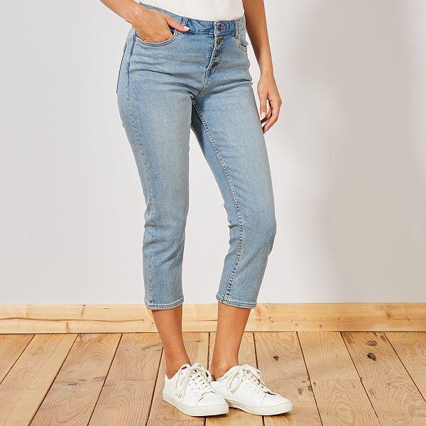Pantacourt en jean avec boutons