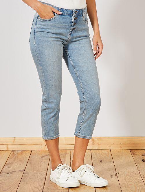 Pantacourt en jean avec boutons                                                     bleu clair Femme