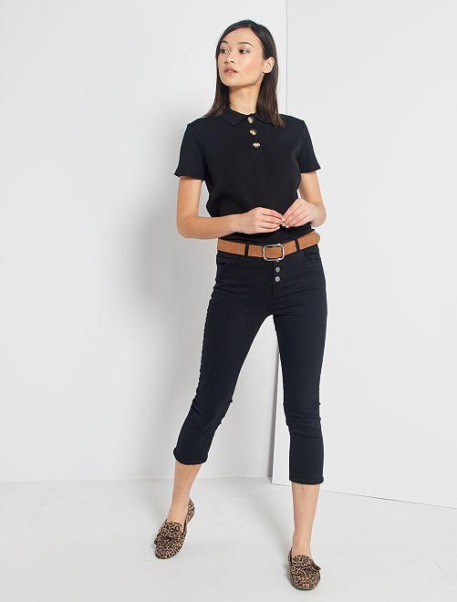 Pantacourt skinny à braguette boutonnée                                         noir