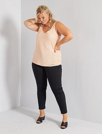 Grande taille femme - Pantalon 7/8e en satin de coton - Kiabi