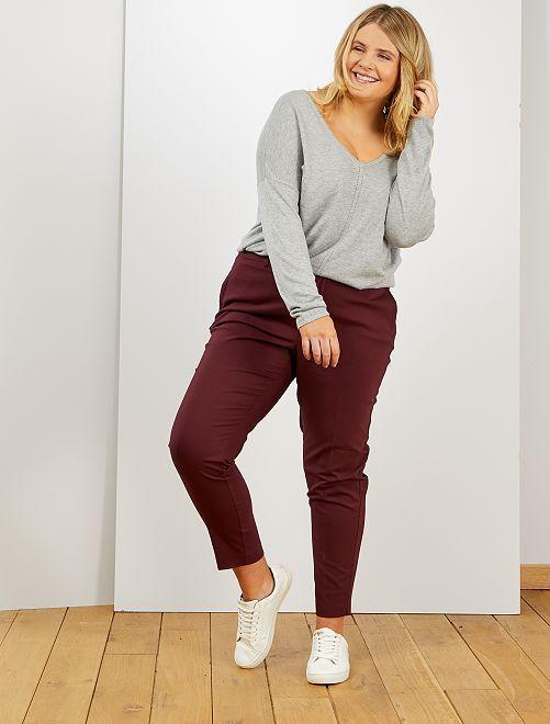 Pantalon 7/8e en satin de coton                                                                 rouge