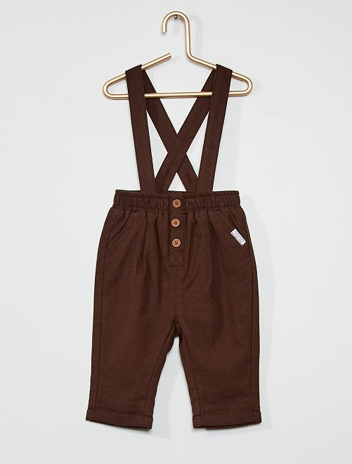 Pantalon à bretelles                                         marron foncé