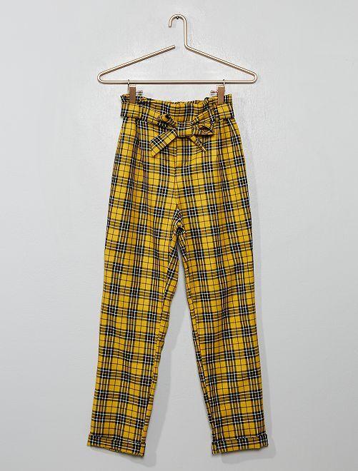 Pantalon à carreaux avec ceinture à nouer                             carreaux jaune