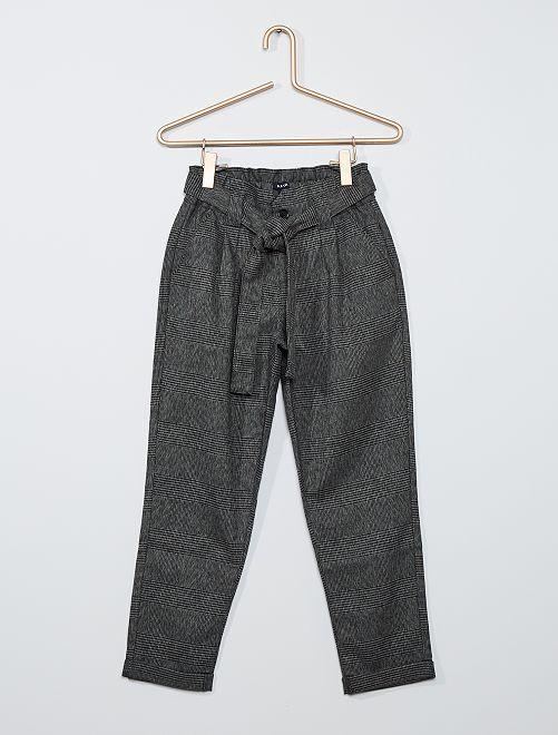 Pantalon à carreaux                             carreaux gris