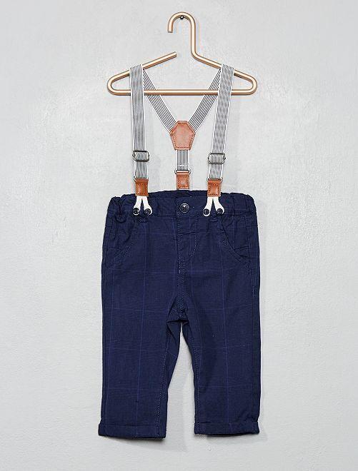 Pantalon à carreaux et bretelles                             bleu