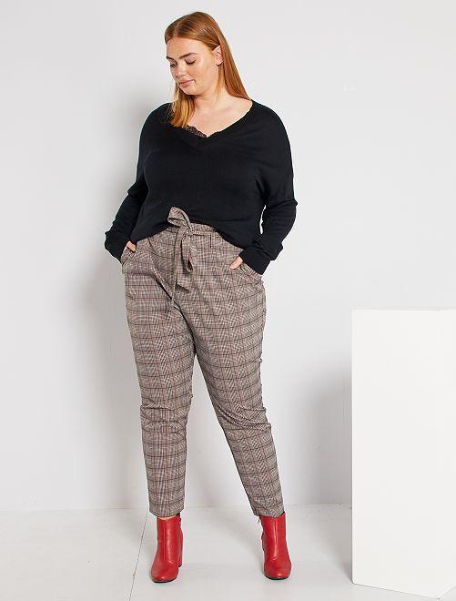 Pantalon à carreaux                             marron