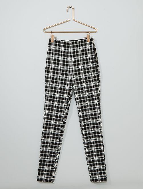 Pantalon à carreaux                             noir/blanc