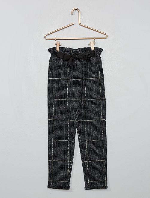Pantalon à carreaux                                         noir/gris