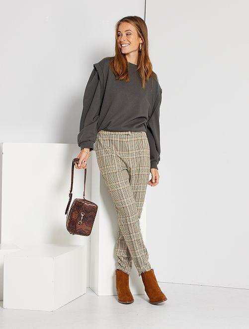 Pantalon à carreaux taille haute                             carreaux beige