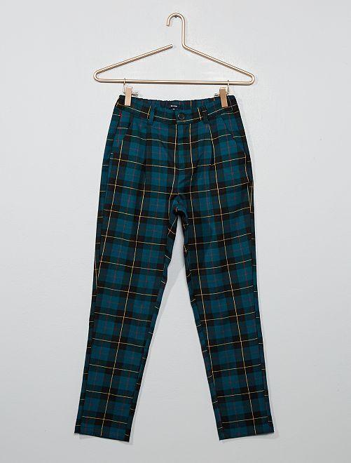 Pantalon à carreaux                                                                 vert Fille adolescente