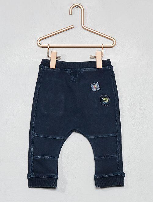 Pantalon à patchs brodés                             bleu marine