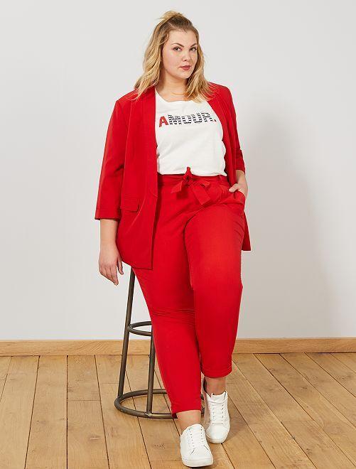 Pantalon à pinces avec ceinture                                                     rouge Grande taille femme