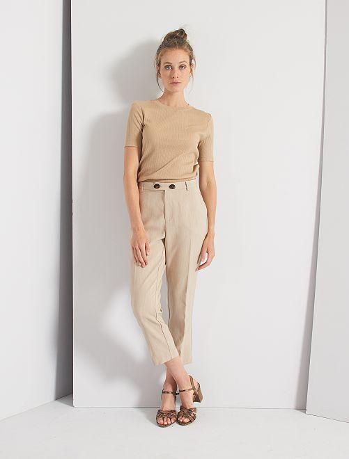 Pantalon à pinces                                 beige chiné