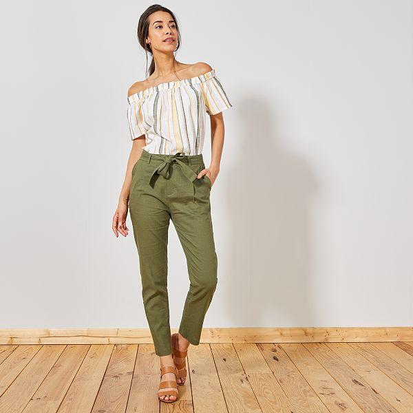 pantalon femme kaki
