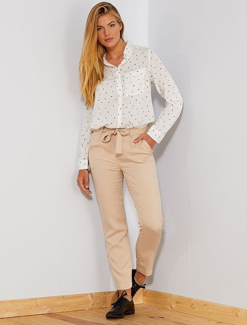 Pantalon à pinces en lyocell                                                                                         beige Femme
