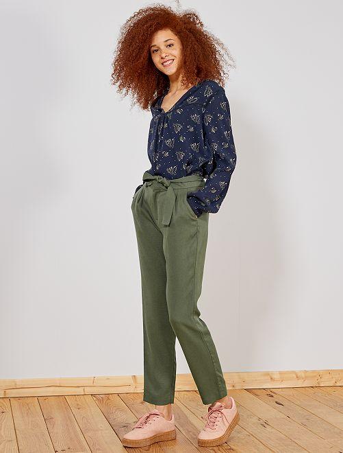 Pantalon à pinces en lyocell                                                                                         kaki Femme