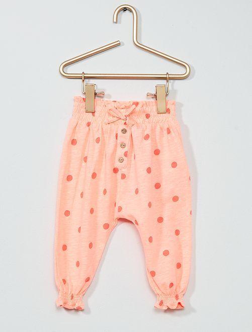 Pantalon à pois                             rose fluo