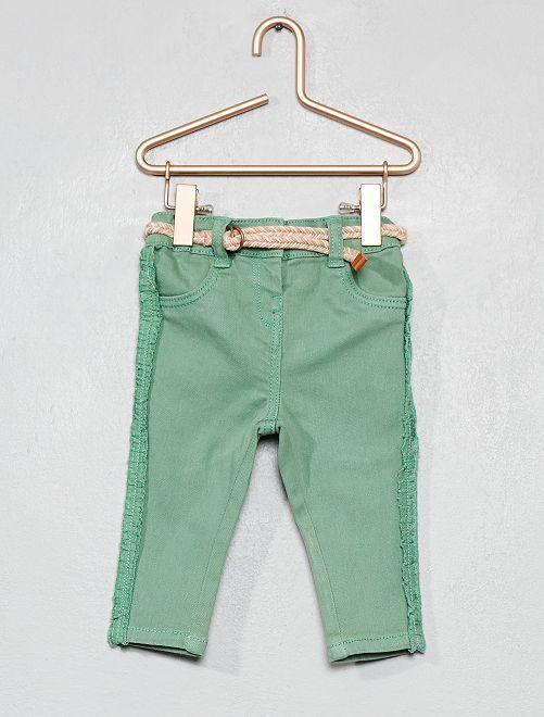 Pantalon à volants + ceinture                             vert