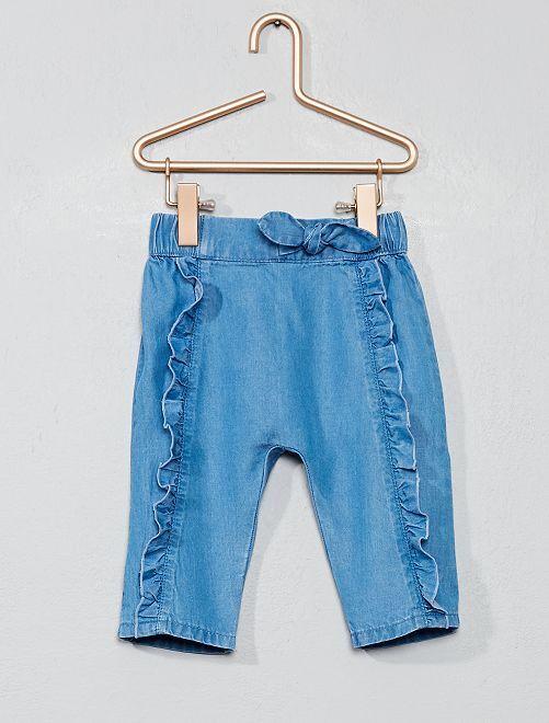 Pantalon animation volants                                         bleu Bébé fille