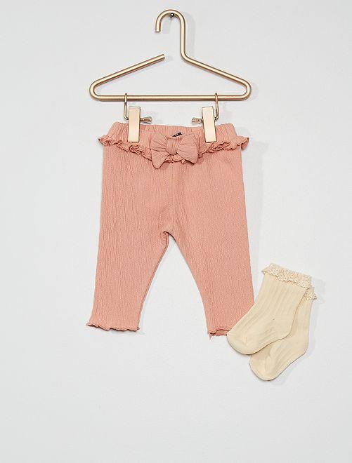 Pantalon avec chaussettes                             rose