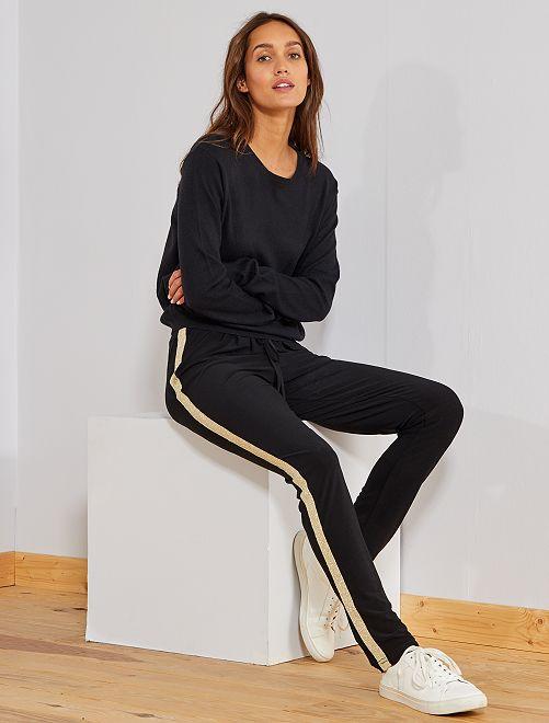 Pantalon bandes brillantes                             noir Femme