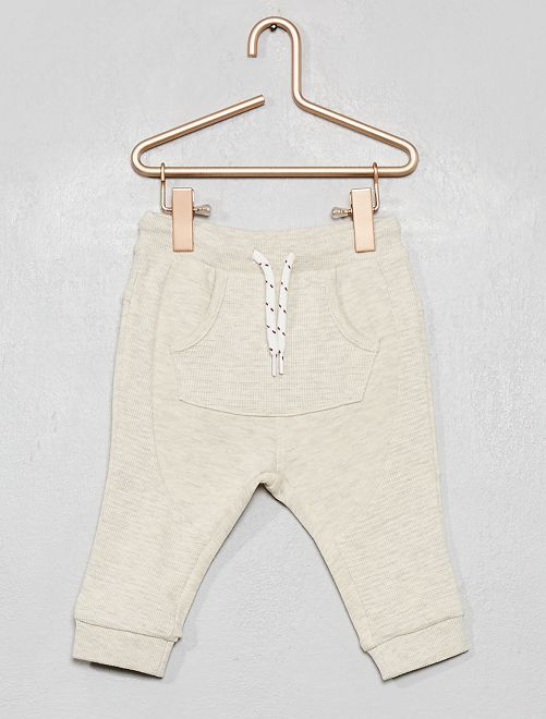 Pantalon bi-matière                             beige