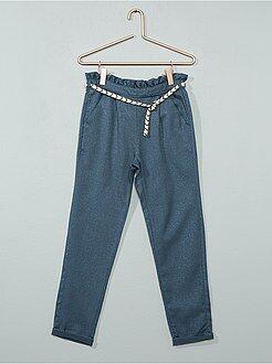 Fille 3-12 ans - Pantalon brillant en gabardine - Kiabi