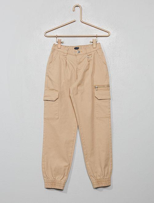 Pantalon cargo en twill                                                                             beige