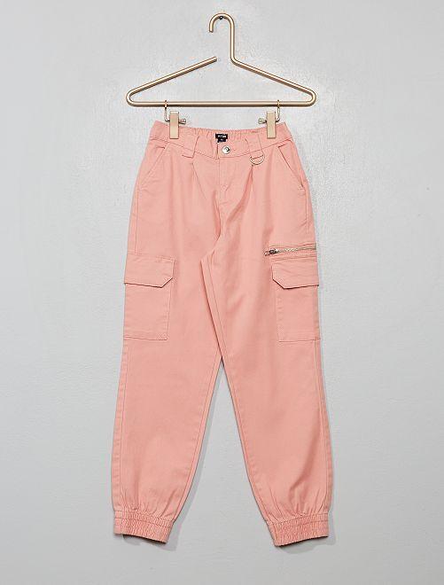 Pantalon cargo en twill                                                                             rose