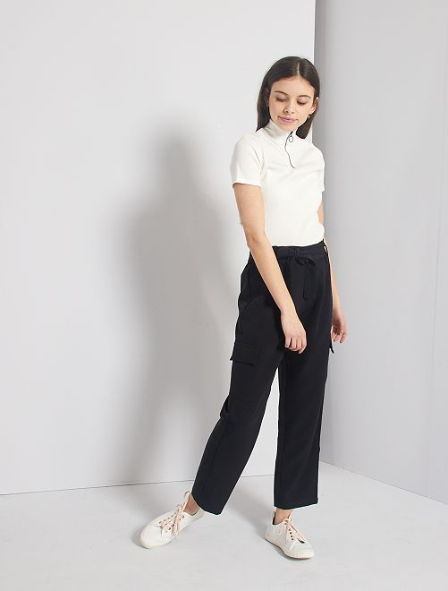 Pantalon cargo fluide                             noir