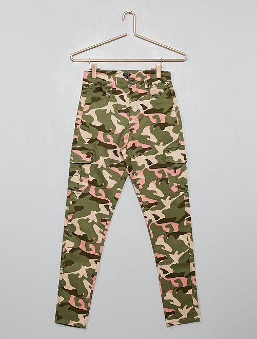 Pantalon cargo skinny                                         kaki/rose camouflage