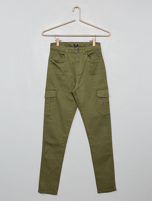 Pantalon cargo skinny                                         vert